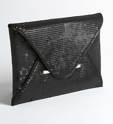 BCBG black sequin envelope bag